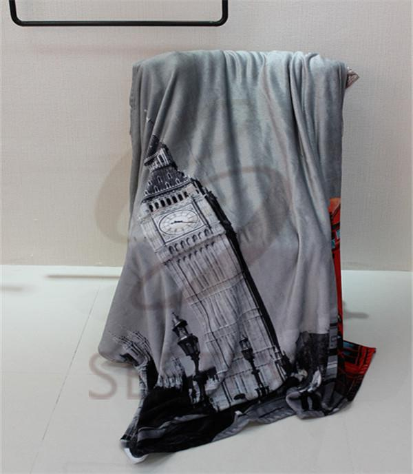 city building printing design flannel blanket