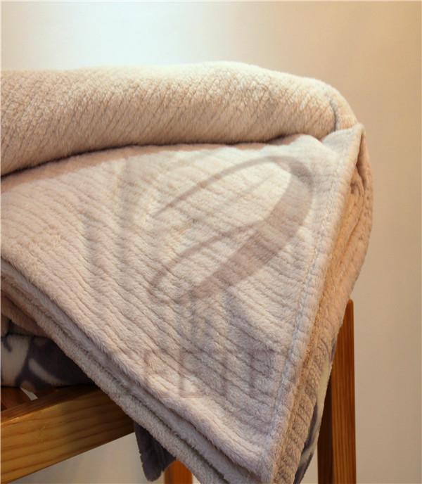 vertical strip textured design coral fleece blanket