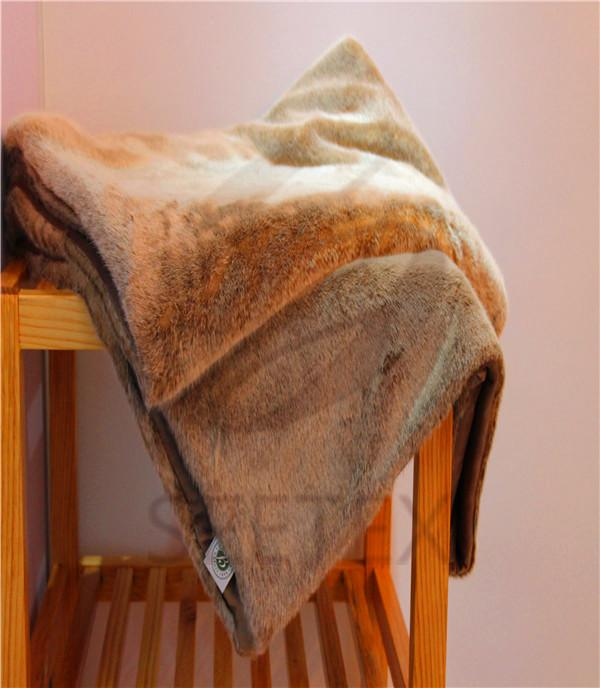 Red fox faux fur throw