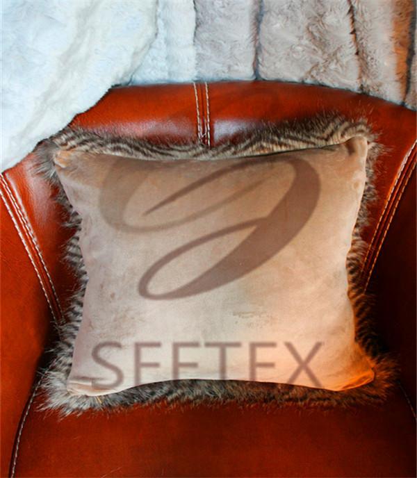 Zig-zag long pile design faux fur pillow