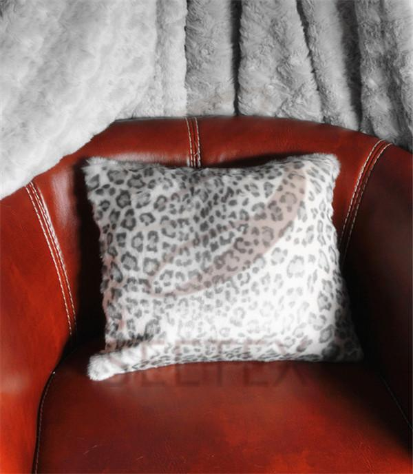 Snow leopard printing faux fur pillow