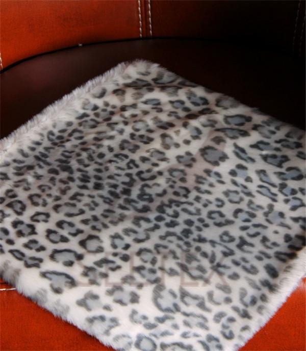 Snow leopard printing faux fur pillow