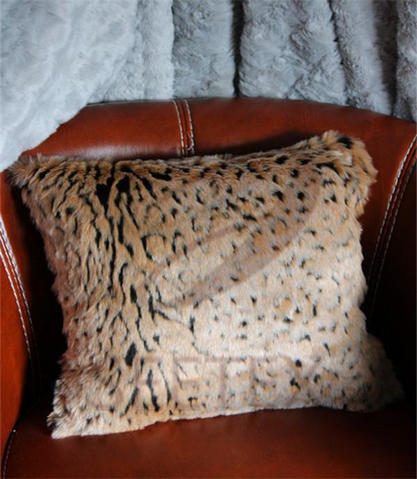 Textured leopard design faux fur pillow