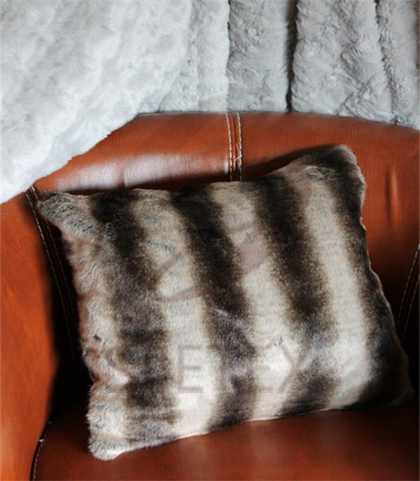 Brown chinchilla printing faux fur pillow
