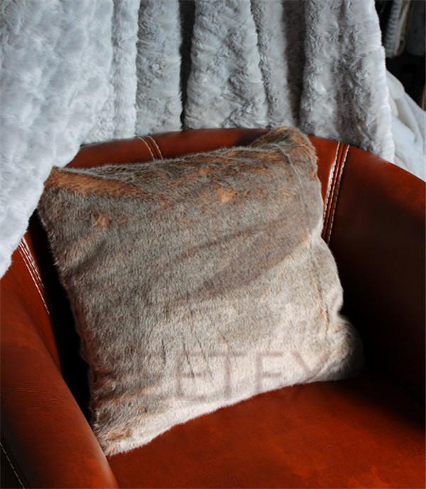 Red fox faux fur pillow