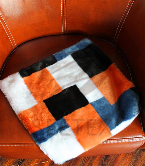 Geometrical pattern design faux fur pillow