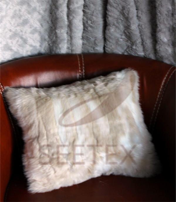Blonde mink faux fur pillow