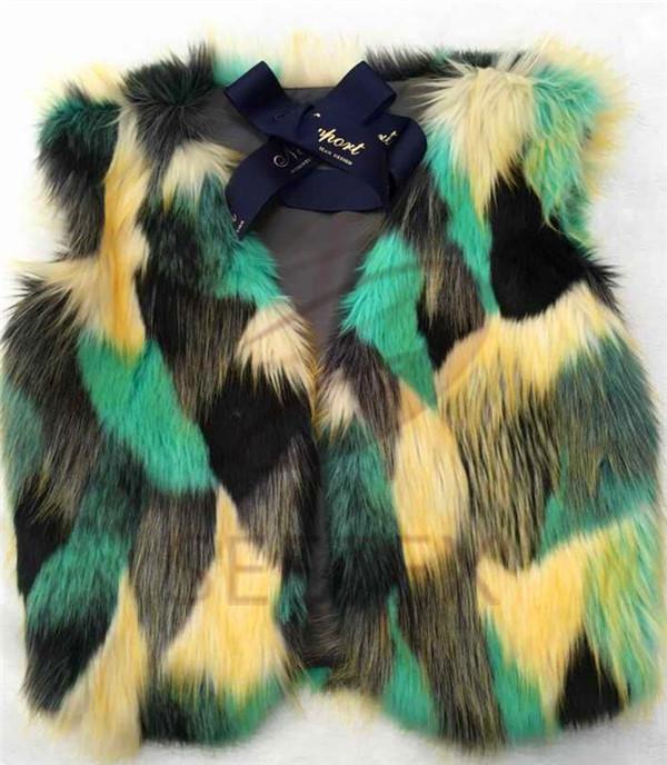 Patchwork faux fur vest