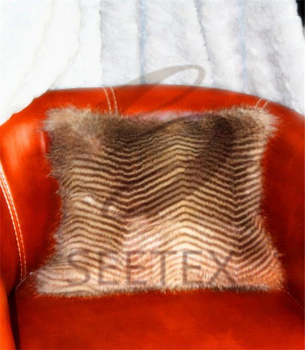 Zig-zag long pile design faux fur pillow