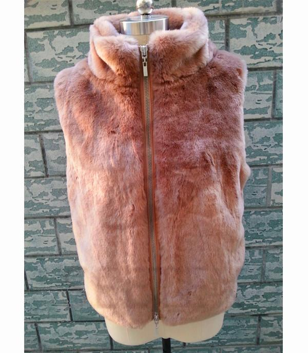 Rabbit faux fur vest with zip