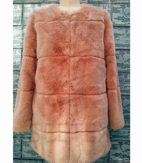 Dusty pink mink horizontal faux fur coat
