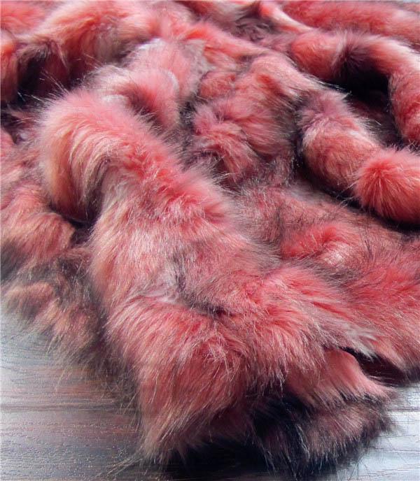 Patchwork jacquard faux fur fabric